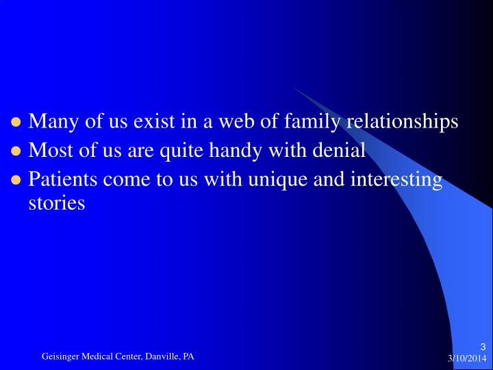 Many of us exist in a web of family relationships