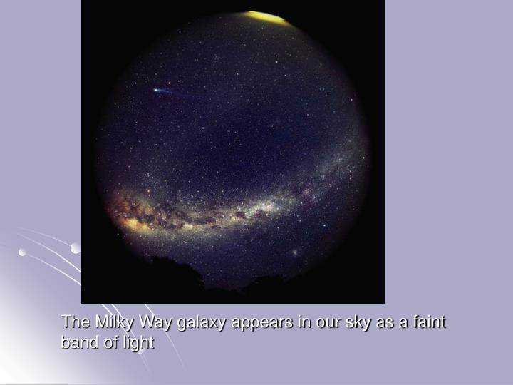 The Milky Way galaxy appears in our sky as a faint band of light