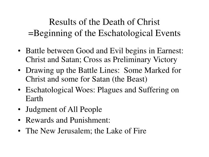 Results of the Death of Christ
