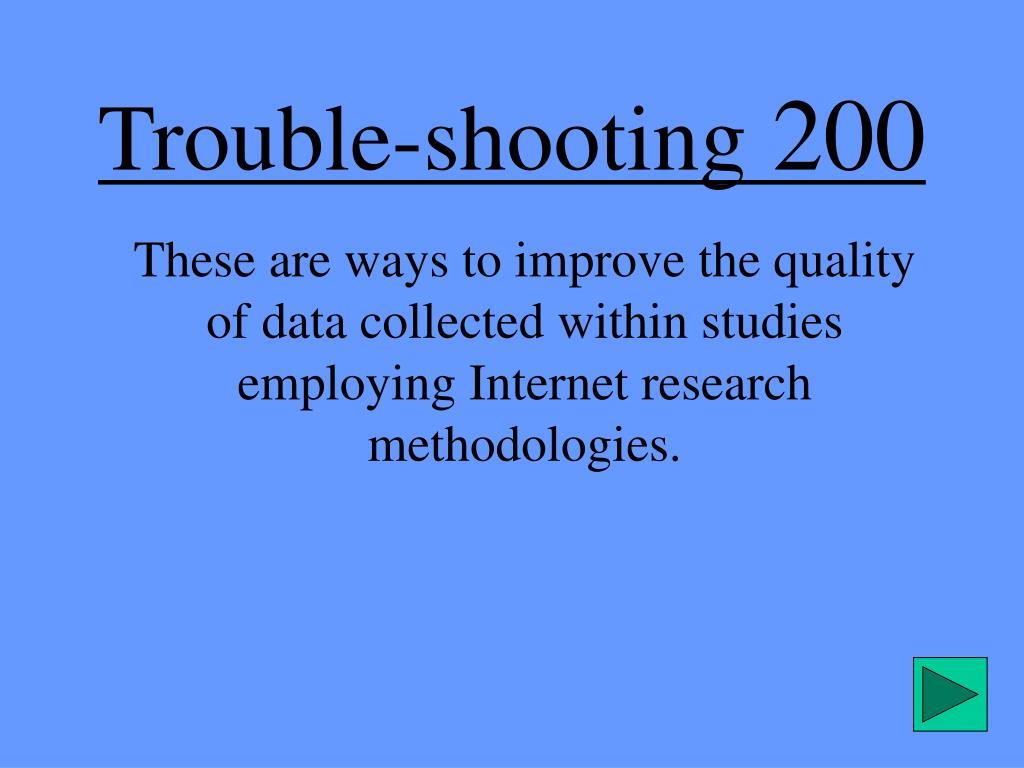 Trouble-shooting