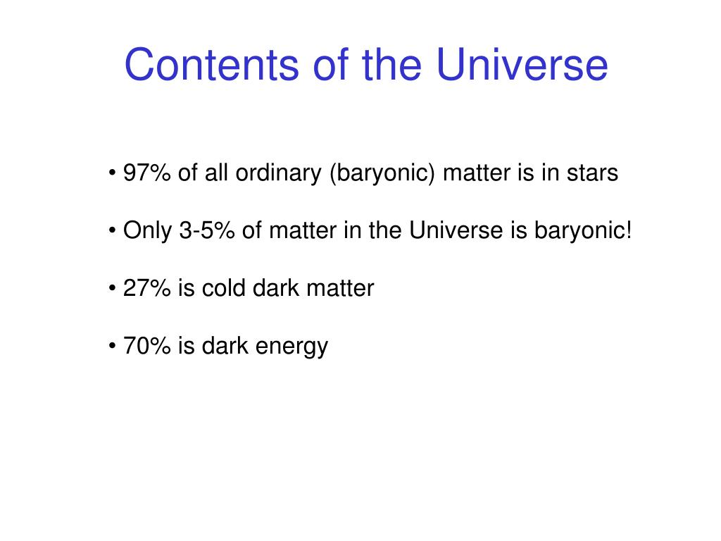 Contents of the Universe