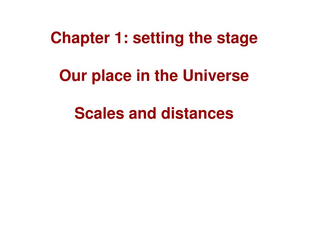 Chapter 1: setting the stage
