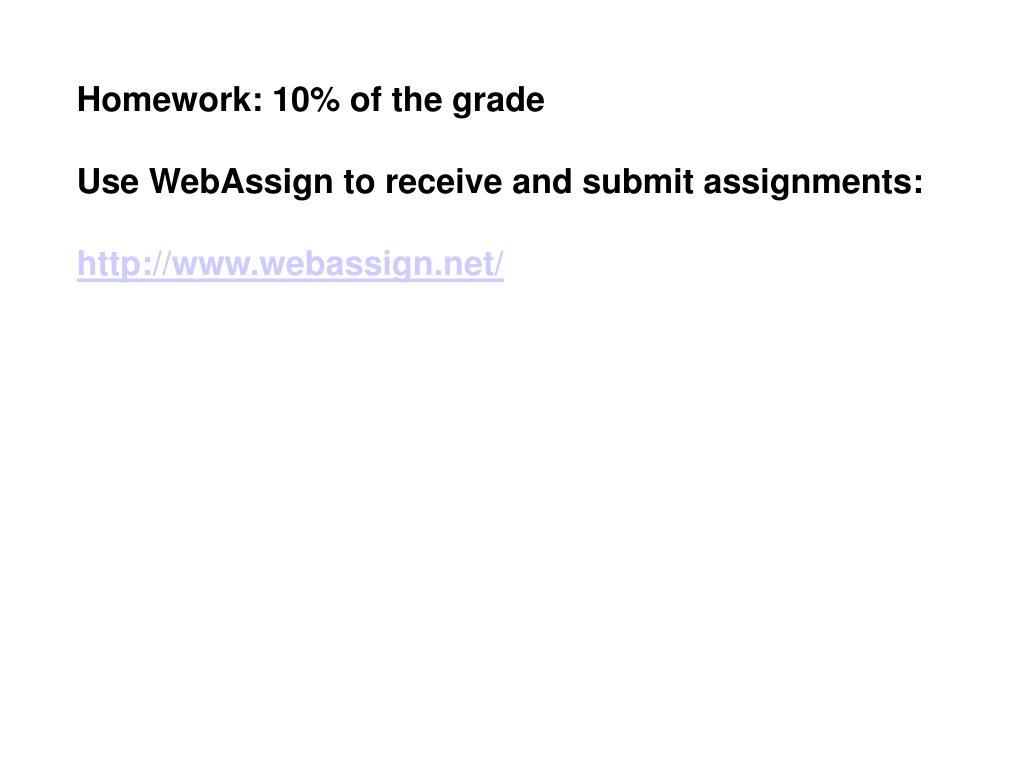 Homework: 10% of the grade