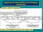 applying the value chain to cost analysis continued13