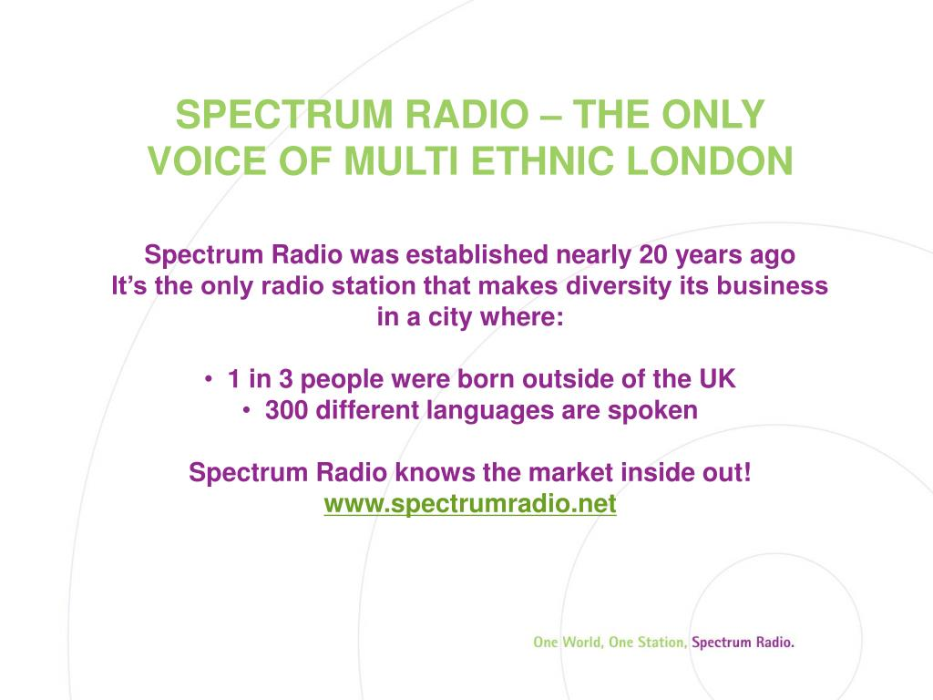 SPECTRUM RADIO – THE ONLY VOICE OF MULTI ETHNIC LONDON