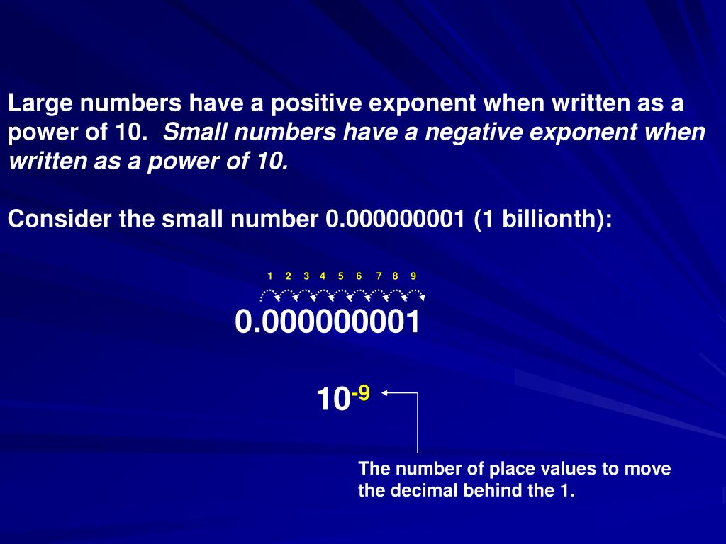 Large numbers have a positive exponent when written as a power of 10.