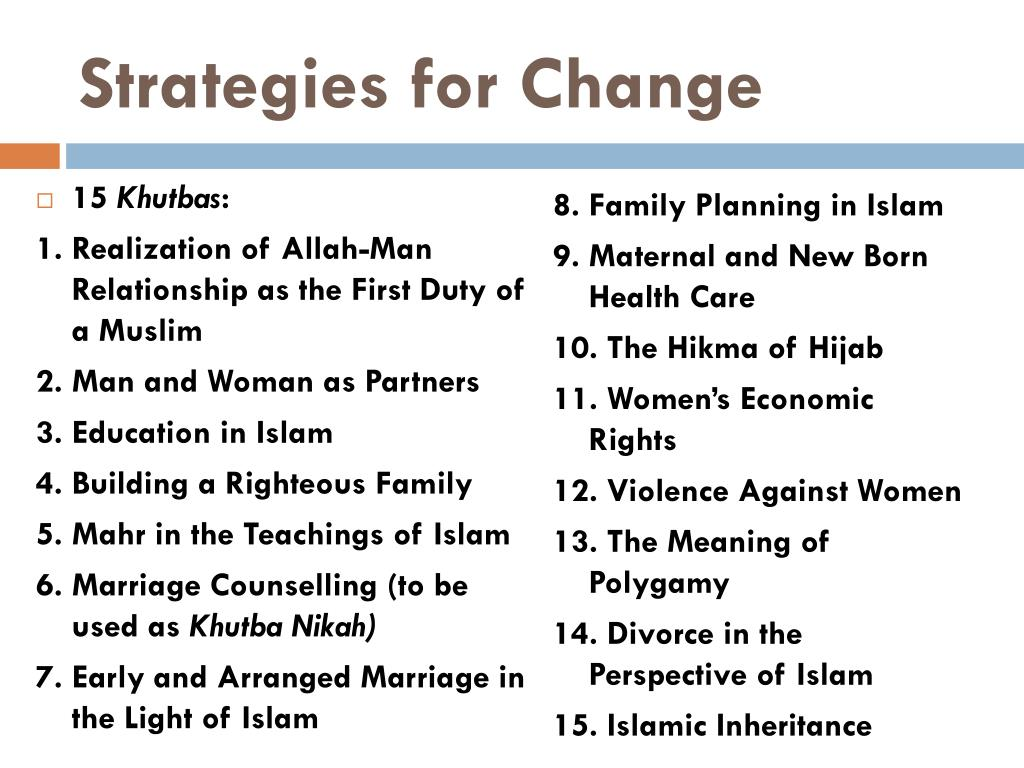 Strategies for Change