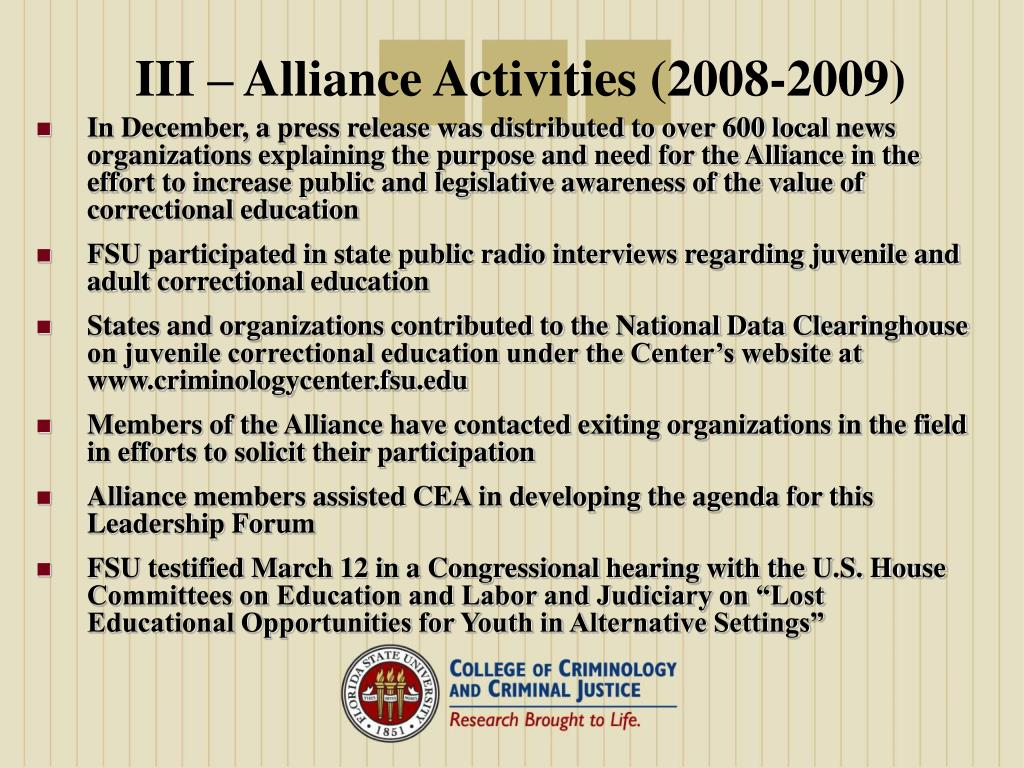 III – Alliance Activities (2008-2009)