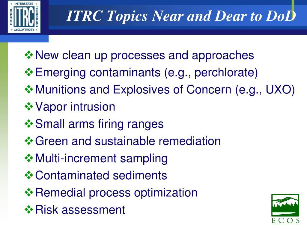 ITRC Topics Near and Dear to DoD