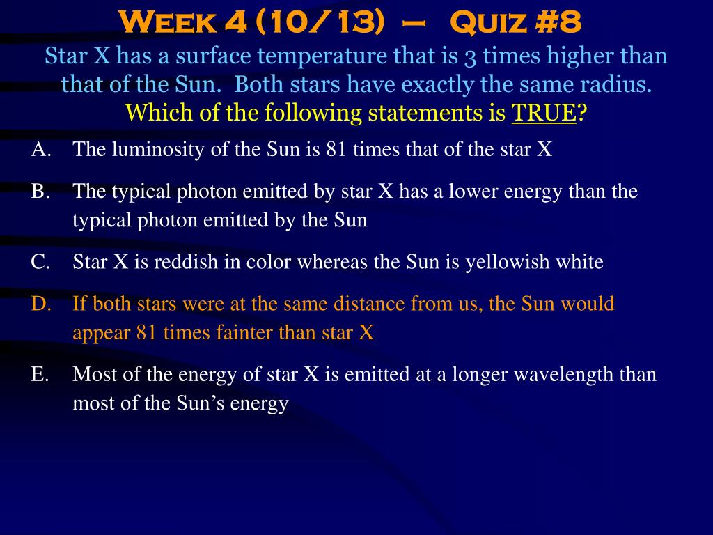 Week 4 (10/13)  –   Quiz #8