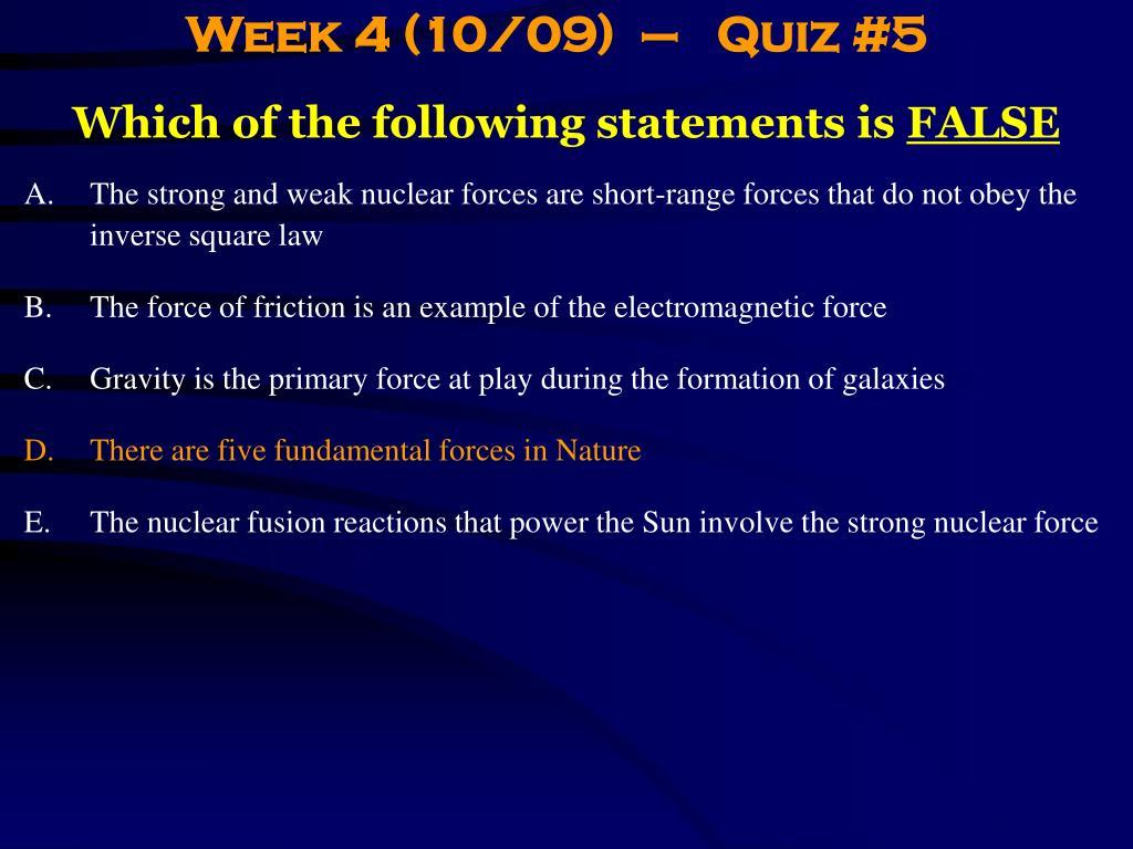 Week 4 (10/09)  –   Quiz #5
