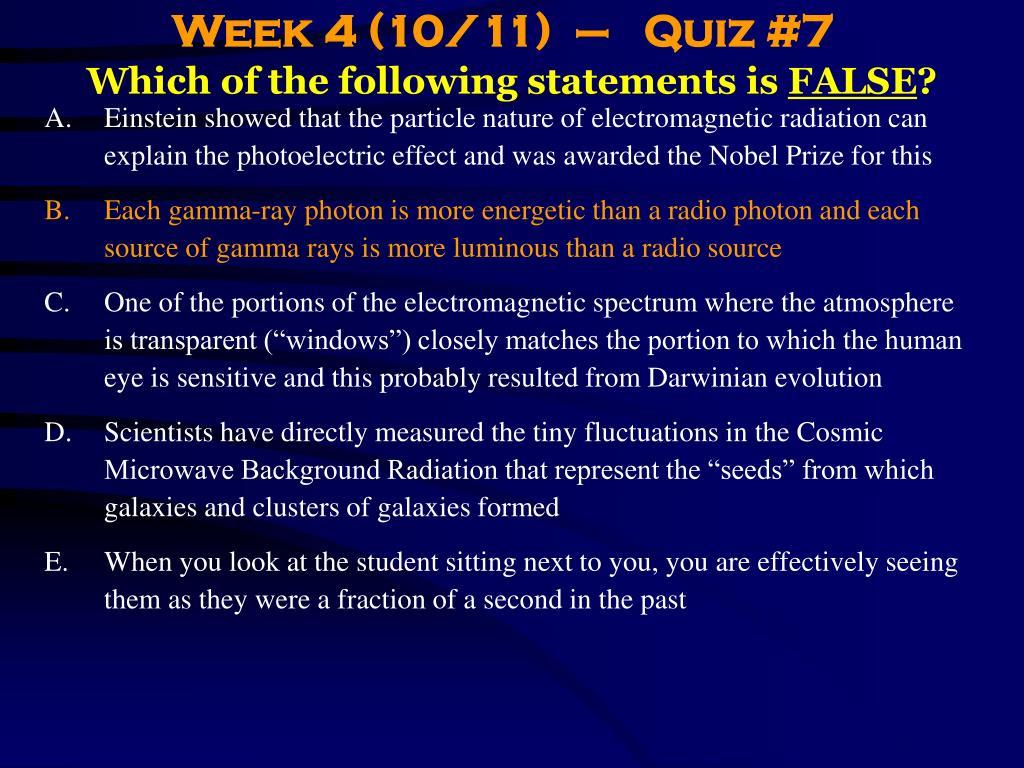Week 4 (10/11)  –   Quiz #7