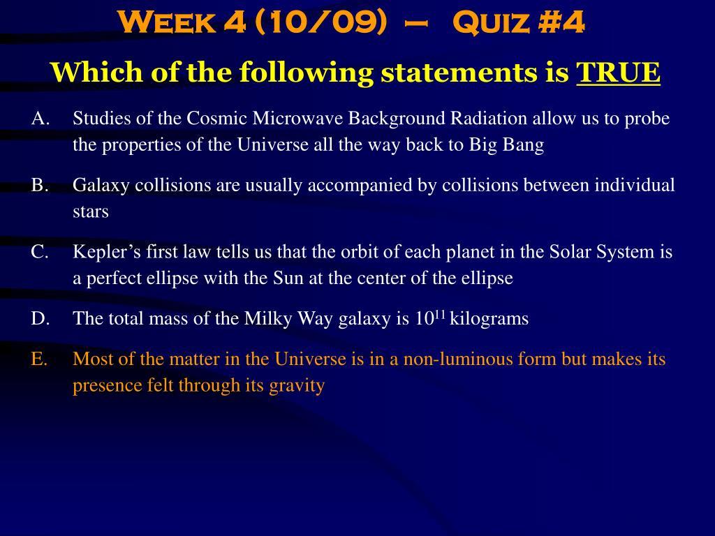 Week 4 (10/09)  –   Quiz #4