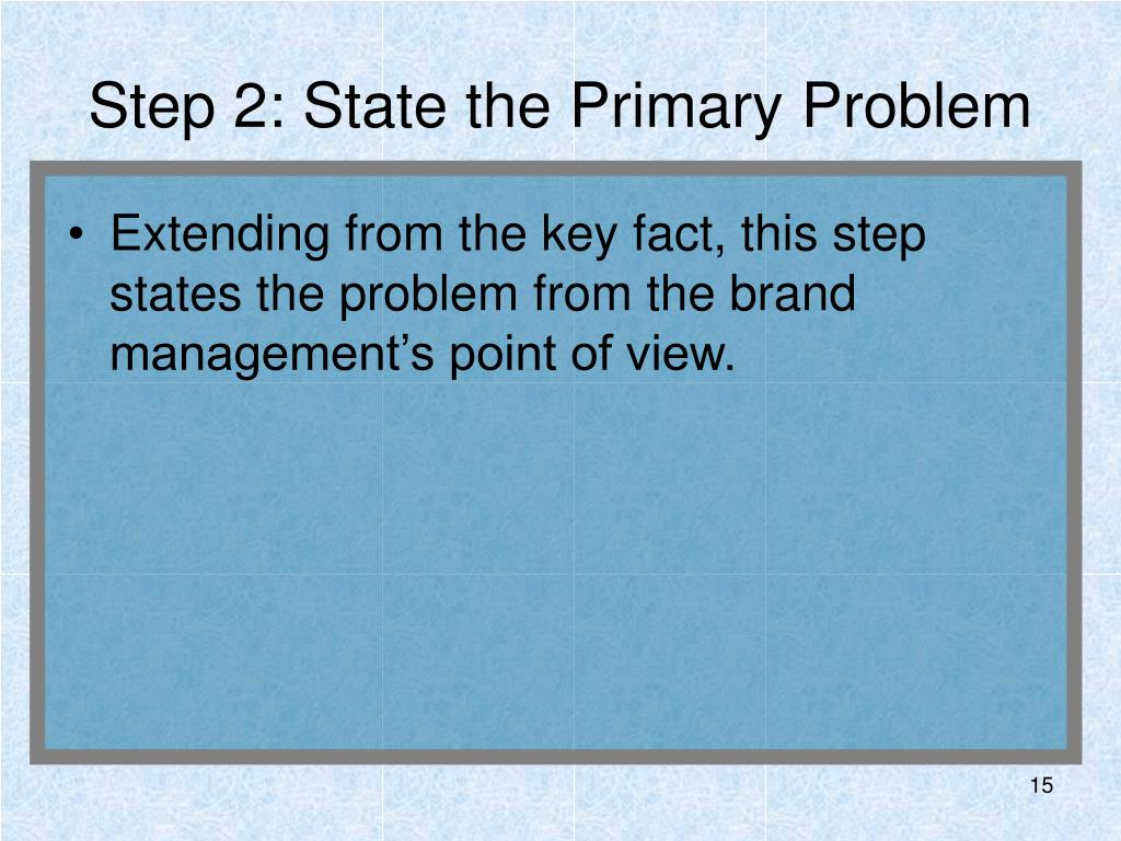 Step 2: State the Primary Problem