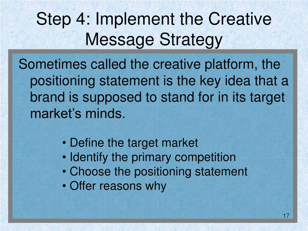 Step 4: Implement the Creative Message Strategy