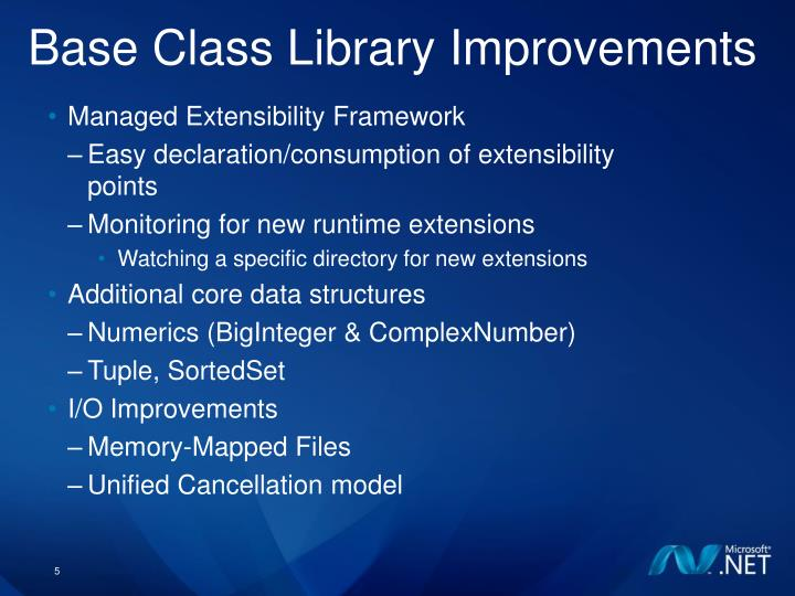 Base Class Library Improvements