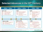 selected advances in the 20 th century
