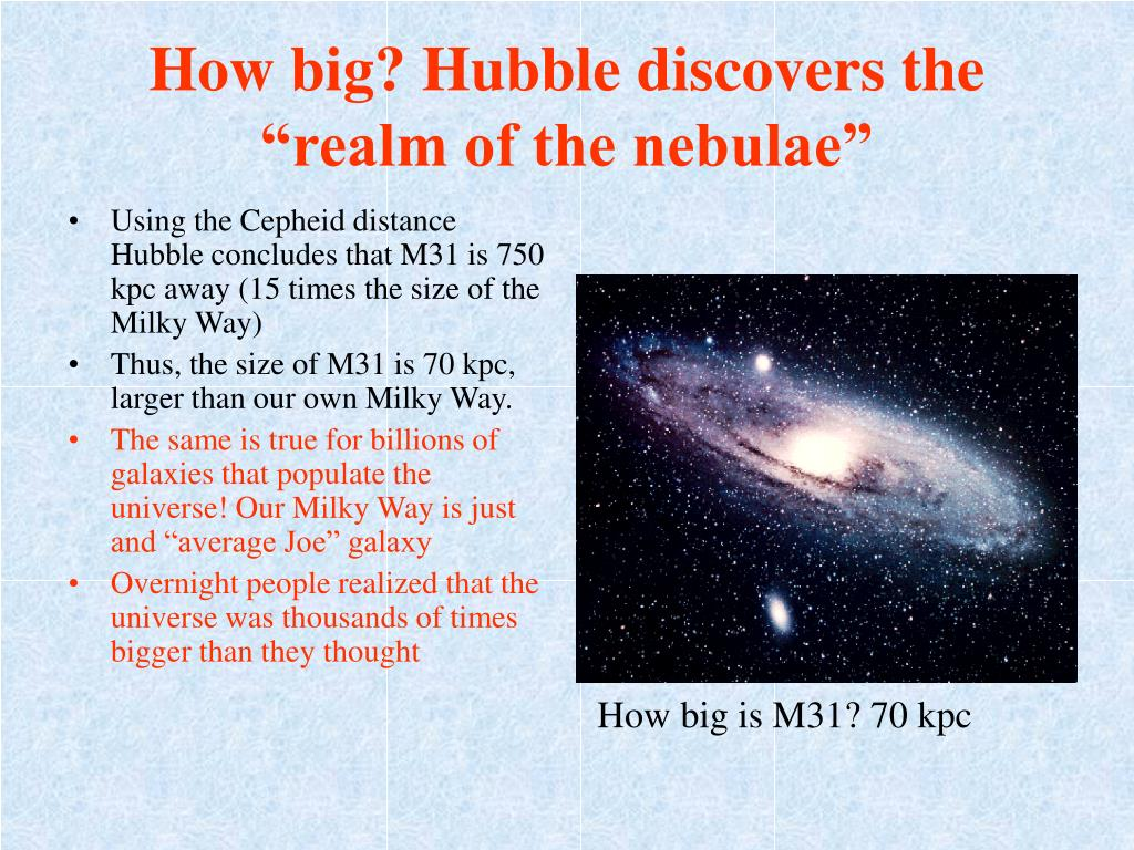 """How big? Hubble discovers the """"realm of the nebulae"""""""