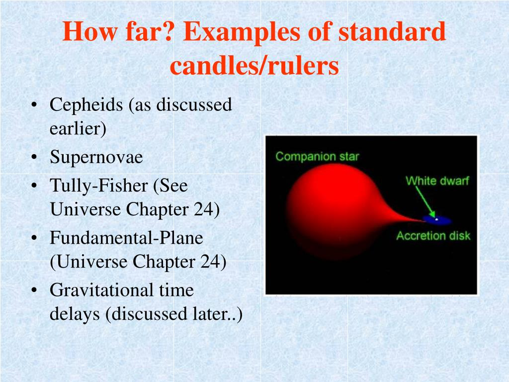 How far? Examples of standard candles/rulers