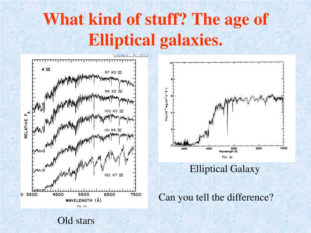 What kind of stuff? The age of Elliptical galaxies.