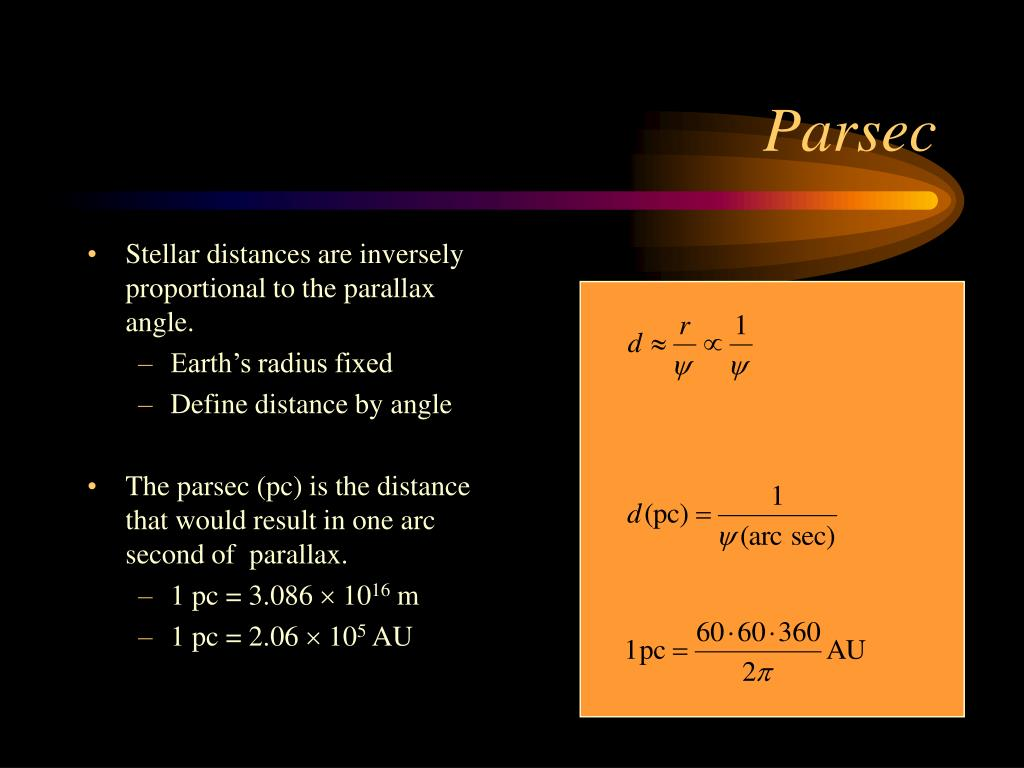 Stellar distances are inversely proportional to the parallax angle.