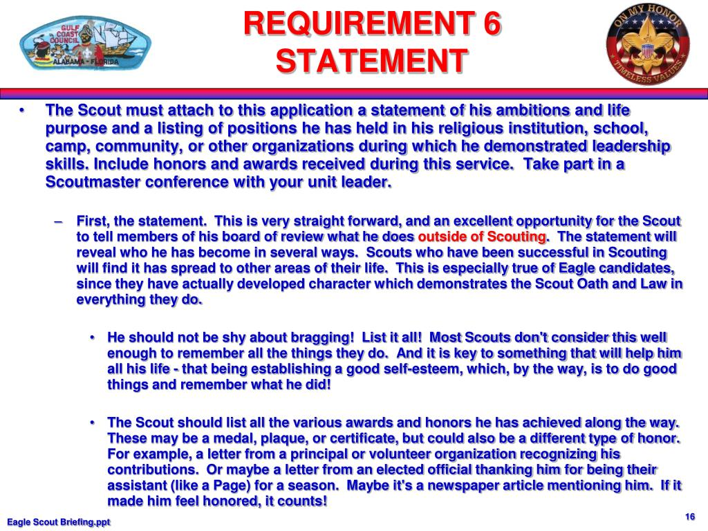 The Scout must attach to this application a statement of his ambitions and life purpose and a listing of positions he has held in his religious institution, school, camp, community, or other organizations during which he demonstrated leadership skills. Include honors and awards received during this service.  Take part in a Scoutmaster conference with your unit leader.