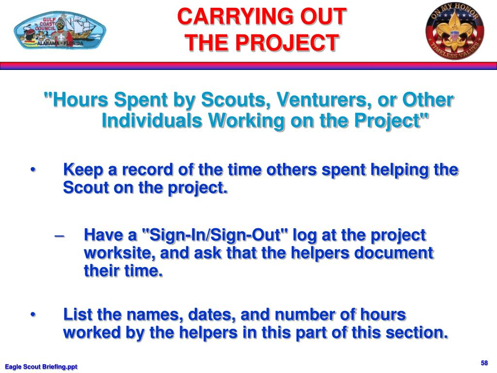 """""""Hours Spent by Scouts, Venturers, or Other Individuals Working on the Project"""""""