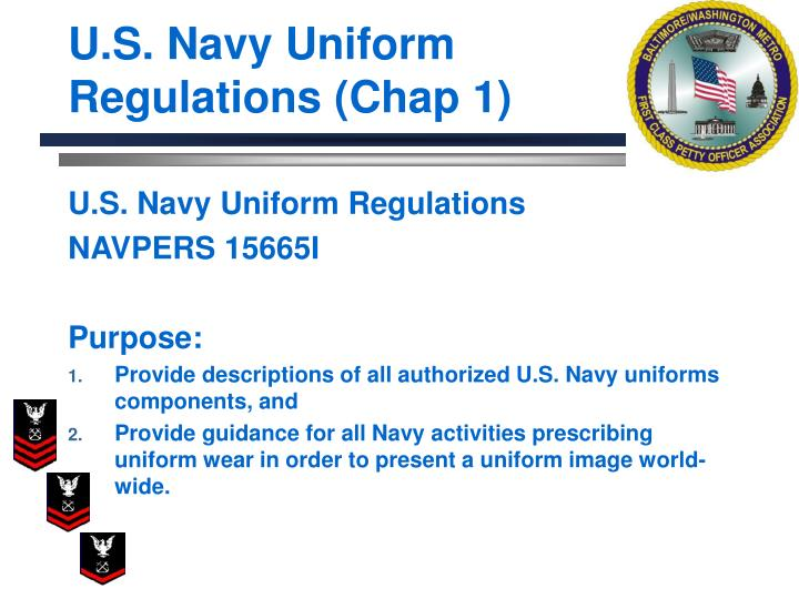 U s navy uniform regulations chap 1