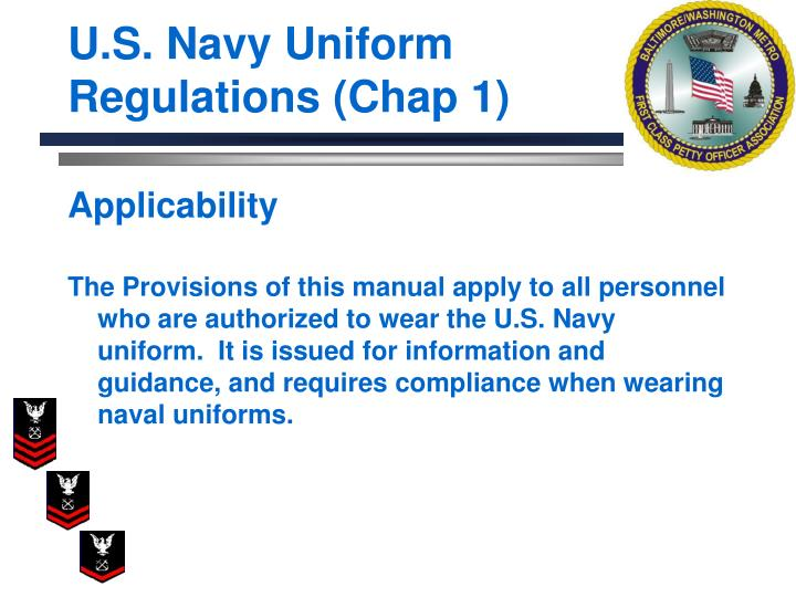 U s navy uniform regulations chap 13