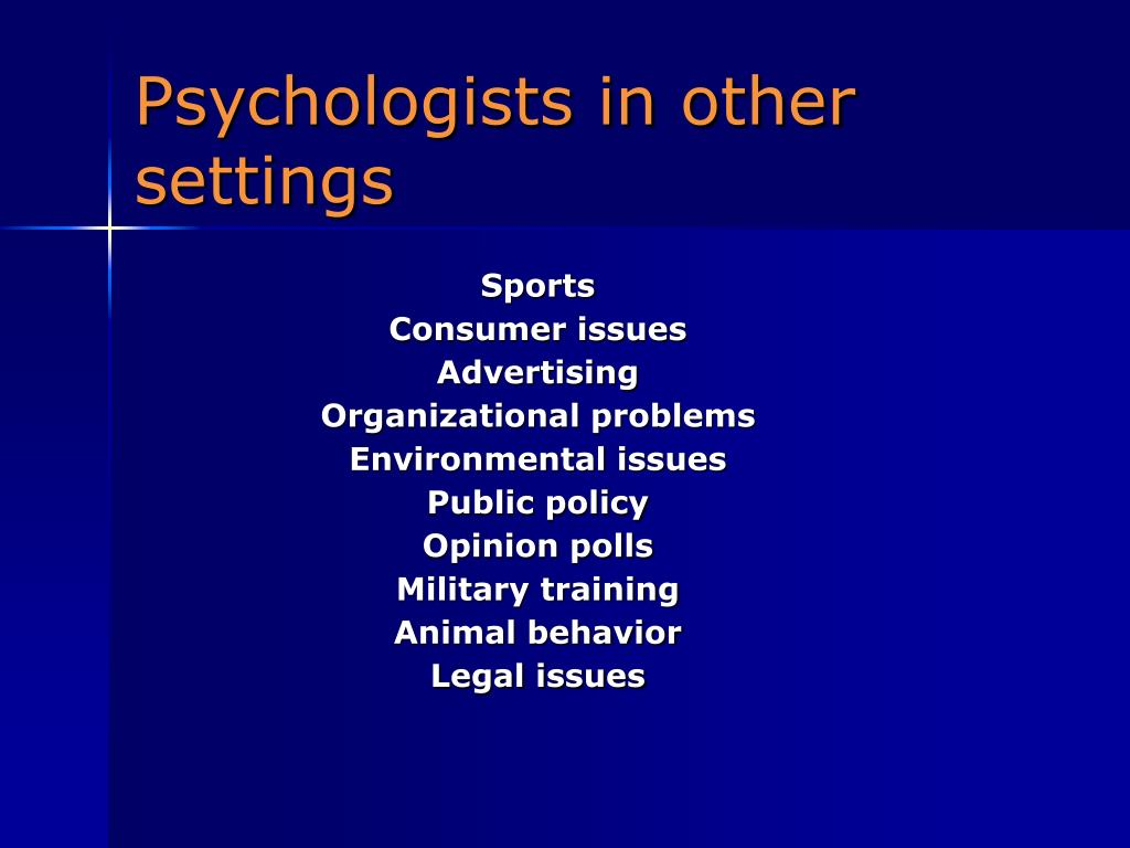 Psychologists in other settings