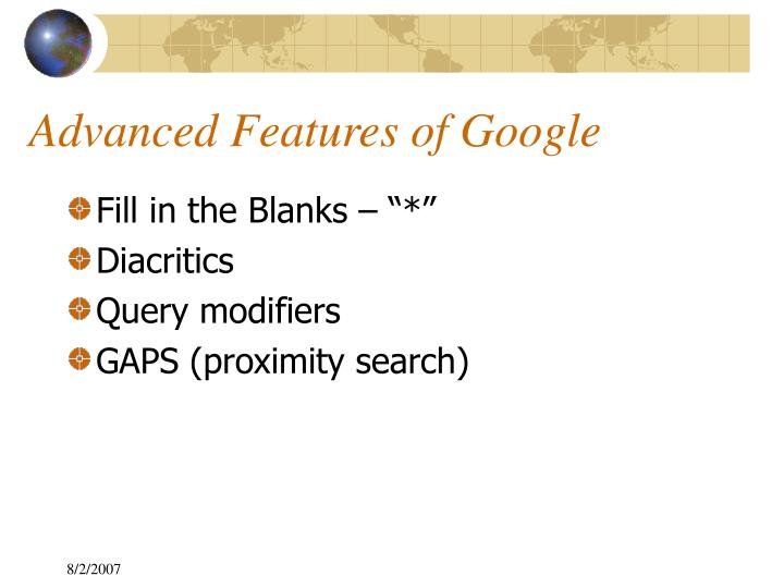Advanced Features of Google