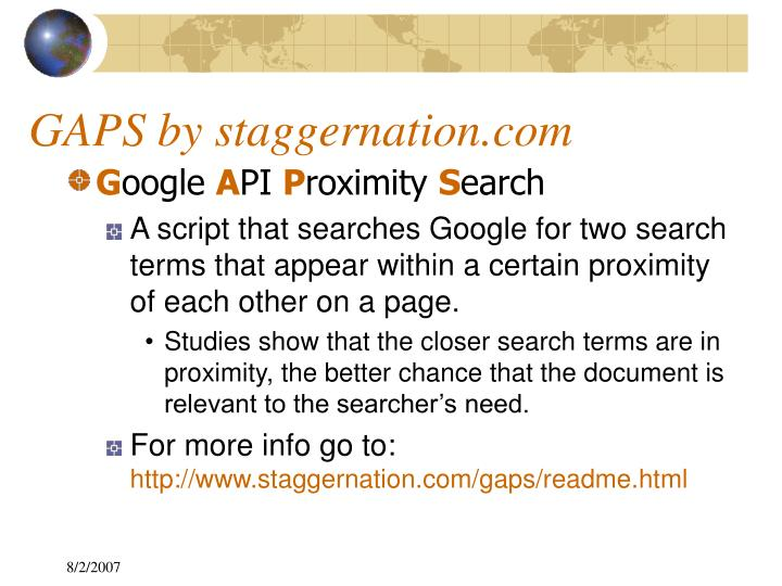 GAPS by staggernation.com