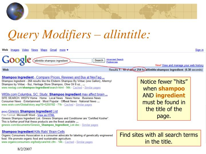 Query Modifiers – allintitle: