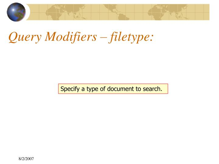 Specify a type of document to search.
