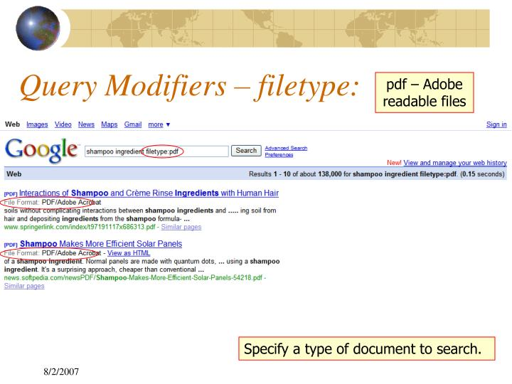 Query Modifiers – filetype: