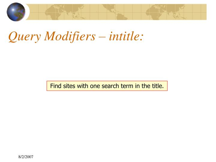 Query Modifiers – intitle: