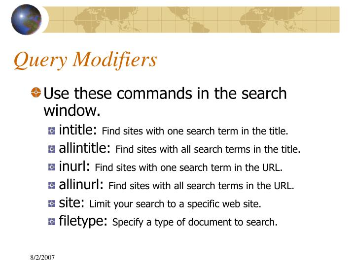 Query Modifiers