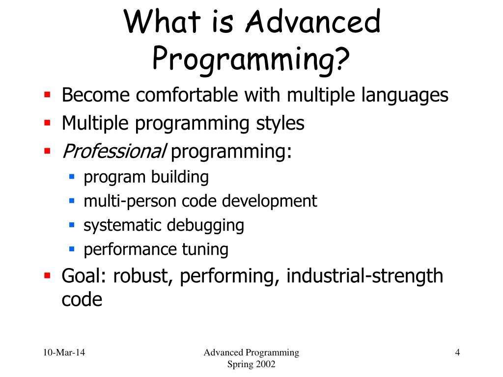What is Advanced Programming?