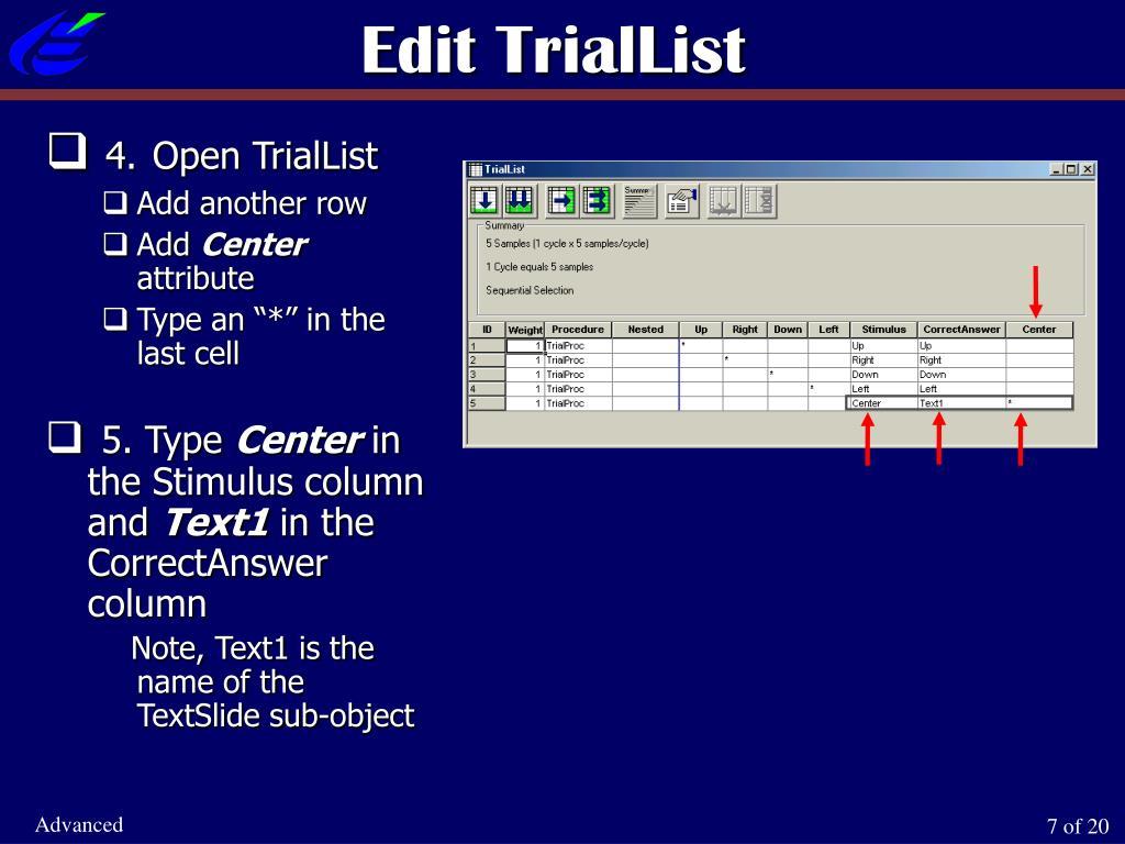 Edit TrialList