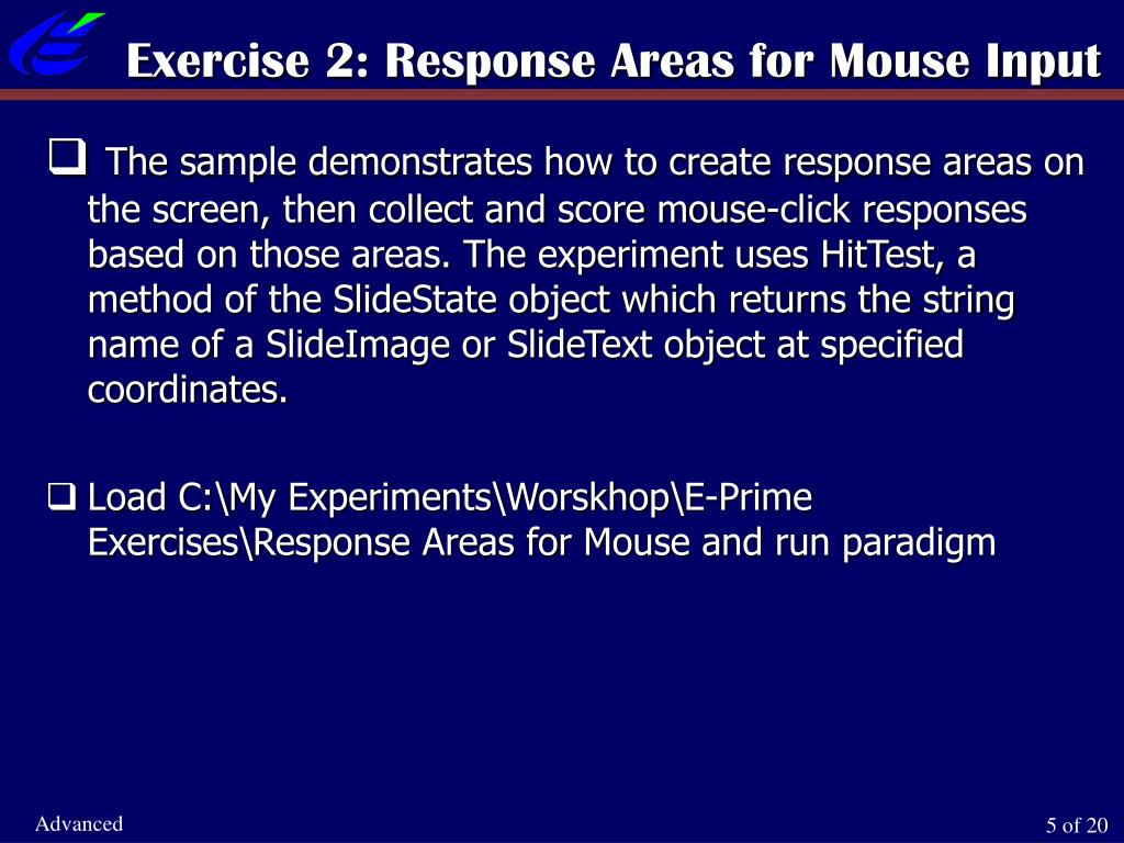 Exercise 2: Response Areas for Mouse Input