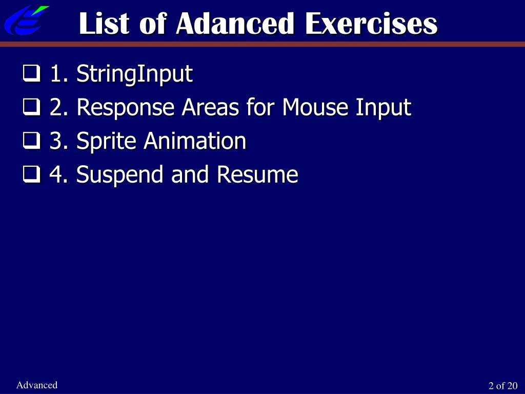 List of Adanced Exercises