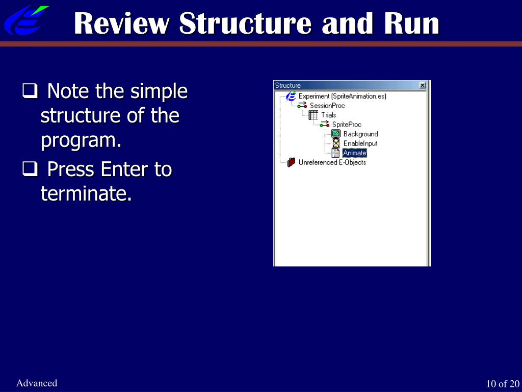Review Structure and Run