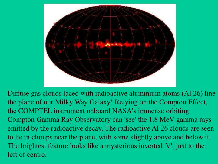 Diffuse gas clouds laced with radioactive aluminium atoms (Al 26) line the plane of our Milky Way Galaxy! Relying on the Compton Effect, the COMPTEL instrument onboard NASA's immense orbiting Compton Gamma Ray Observatory can 'see' the 1.8 MeV gamma rays emitted by the radioactive decay. The radioactive Al 26 clouds are seen to lie in clumps near the plane, with some slightly above and below it. The brightest feature looks like a mysterious inverted 'V', just to the left of centre.