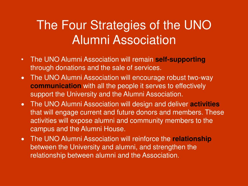 The Four Strategies of the UNO Alumni Association