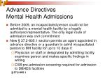 advance directives mental health admissions