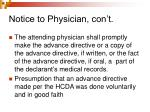 notice to physician con t