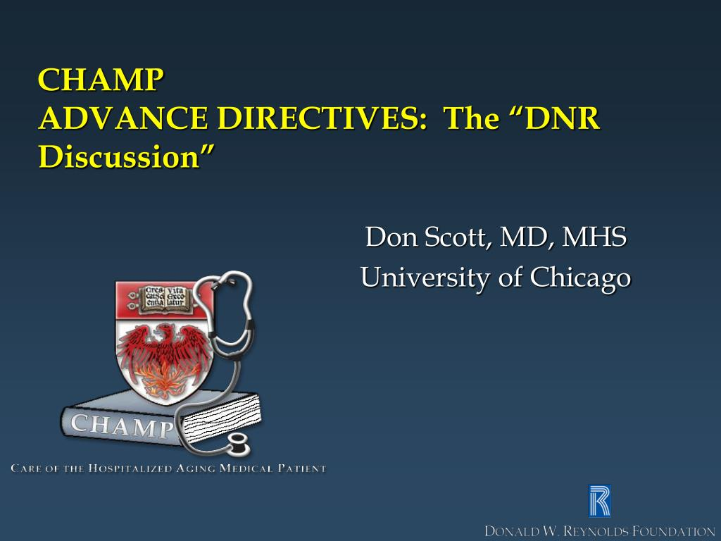 champ advance directives the dnr discussion
