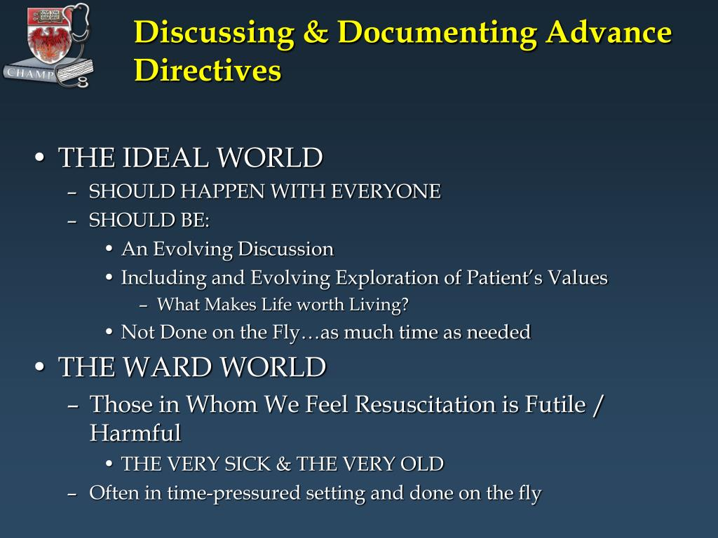 Discussing & Documenting Advance Directives