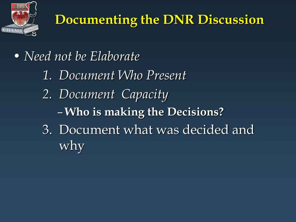 Documenting the DNR Discussion
