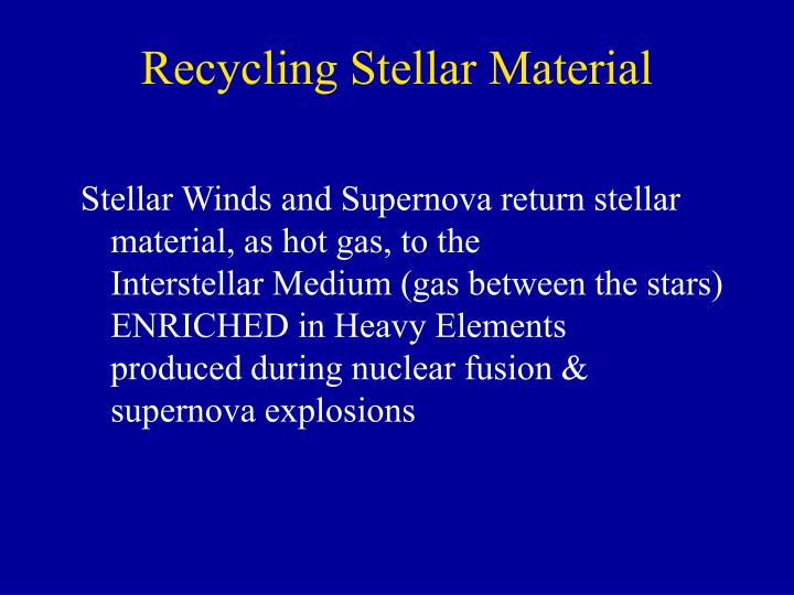Recycling Stellar Material